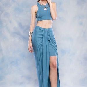 ac8f57fd16cc43 Dresses   Skirts - Maxi Asymmetrical Wrap Skirt And Crop Top Set